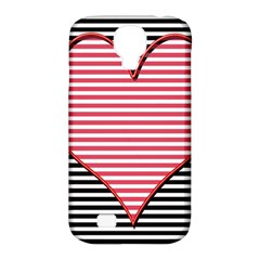 Heart Stripes Symbol Striped Samsung Galaxy S4 Classic Hardshell Case (pc+silicone)