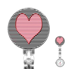 Heart Stripes Symbol Striped Stainless Steel Nurses Watch