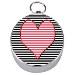 Heart Stripes Symbol Striped Silver Compasses by Nexatart