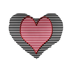 Heart Stripes Symbol Striped Standard 16  Premium Flano Heart Shape Cushions