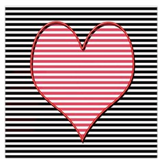 Heart Stripes Symbol Striped Large Satin Scarf (square) by Nexatart