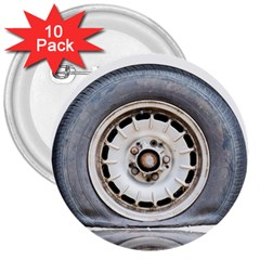 Flat Tire Vehicle Wear Street 3  Buttons (10 Pack)  by Nexatart