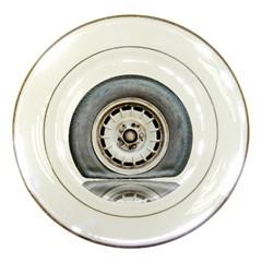 Flat Tire Vehicle Wear Street Porcelain Plates by Nexatart