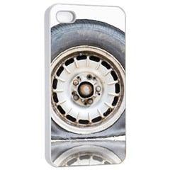 Flat Tire Vehicle Wear Street Apple Iphone 4/4s Seamless Case (white)