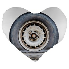 Flat Tire Vehicle Wear Street Large 19  Premium Heart Shape Cushions by Nexatart