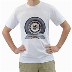 Flat Tire Vehicle Wear Street Men s T Shirt (white)