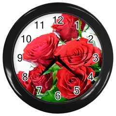 A Bouquet Of Roses On A White Background Wall Clocks (black)