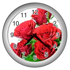 A Bouquet Of Roses On A White Background Wall Clocks (silver)  by Nexatart