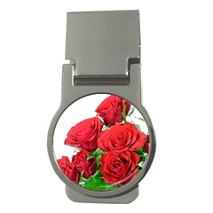 A Bouquet Of Roses On A White Background Money Clips (round)