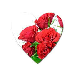 A Bouquet Of Roses On A White Background Heart Magnet by Nexatart