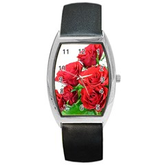 A Bouquet Of Roses On A White Background Barrel Style Metal Watch by Nexatart