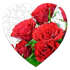 A Bouquet Of Roses On A White Background Jigsaw Puzzle (heart)