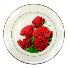 A Bouquet Of Roses On A White Background Porcelain Plates by Nexatart