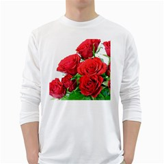 A Bouquet Of Roses On A White Background White Long Sleeve T Shirts