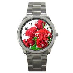 A Bouquet Of Roses On A White Background Sport Metal Watch