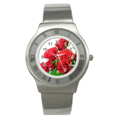 A Bouquet Of Roses On A White Background Stainless Steel Watch