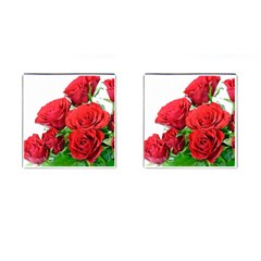 A Bouquet Of Roses On A White Background Cufflinks (square) by Nexatart