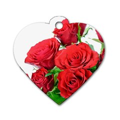 A Bouquet Of Roses On A White Background Dog Tag Heart (one Side) by Nexatart