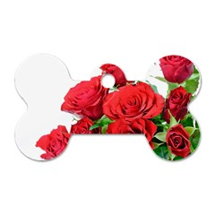 A Bouquet Of Roses On A White Background Dog Tag Bone (two Sides) by Nexatart