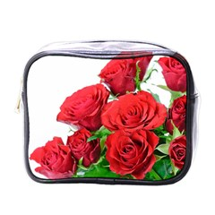 A Bouquet Of Roses On A White Background Mini Toiletries Bags by Nexatart