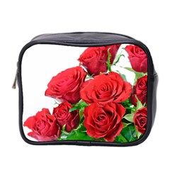 A Bouquet Of Roses On A White Background Mini Toiletries Bag 2 Side by Nexatart