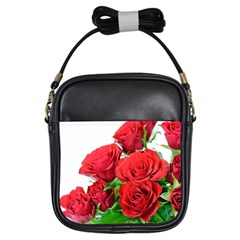 A Bouquet Of Roses On A White Background Girls Sling Bags by Nexatart