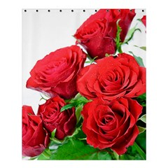 A Bouquet Of Roses On A White Background Shower Curtain 60  X 72  (medium)  by Nexatart