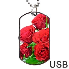 A Bouquet Of Roses On A White Background Dog Tag Usb Flash (two Sides)