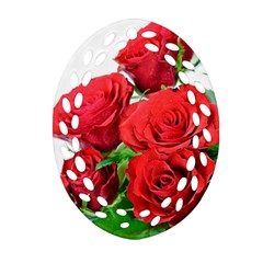 A Bouquet Of Roses On A White Background Ornament (oval Filigree) by Nexatart