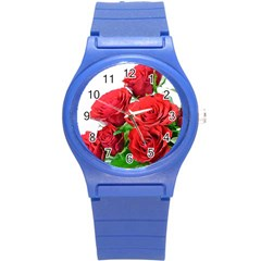 A Bouquet Of Roses On A White Background Round Plastic Sport Watch (s) by Nexatart