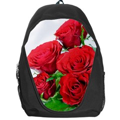 A Bouquet Of Roses On A White Background Backpack Bag by Nexatart