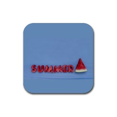 Summer Watermellon Rubber Coaster (square)  by PhotoThisxyz