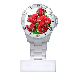 A Bouquet Of Roses On A White Background Plastic Nurses Watch