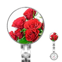 A Bouquet Of Roses On A White Background Stainless Steel Nurses Watch by Nexatart