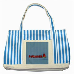 Summer Watermellon Striped Blue Tote Bag by PhotoThisxyz