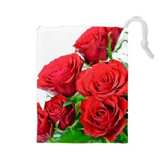 A Bouquet Of Roses On A White Background Drawstring Pouches (large)