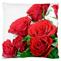 A Bouquet Of Roses On A White Background Large Flano Cushion Case (one Side) by Nexatart