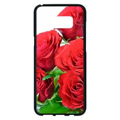 A Bouquet Of Roses On A White Background Samsung Galaxy S8 Plus Black Seamless Case