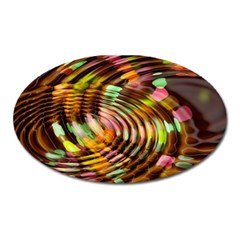 Wave Rings Circle Abstract Oval Magnet by Nexatart