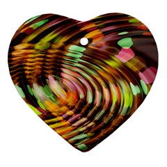 Wave Rings Circle Abstract Heart Ornament (two Sides) by Nexatart