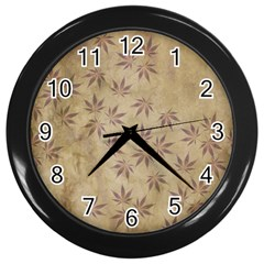 Parchment Paper Old Leaves Leaf Wall Clocks (black) by Nexatart