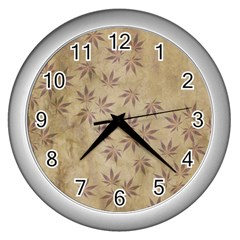 Parchment Paper Old Leaves Leaf Wall Clocks (silver)  by Nexatart