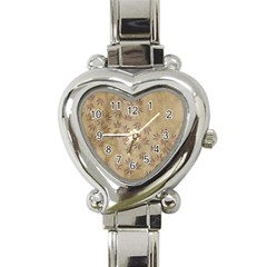 Parchment Paper Old Leaves Leaf Heart Italian Charm Watch by Nexatart