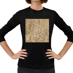 Parchment Paper Old Leaves Leaf Women s Long Sleeve Dark T Shirts