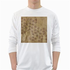 Parchment Paper Old Leaves Leaf White Long Sleeve T Shirts