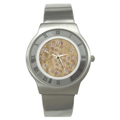 Parchment Paper Old Leaves Leaf Stainless Steel Watch by Nexatart