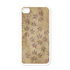 Parchment Paper Old Leaves Leaf Apple Iphone 4 Case (white)