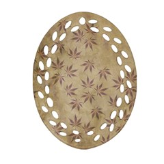 Parchment Paper Old Leaves Leaf Oval Filigree Ornament (two Sides) by Nexatart