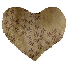 Parchment Paper Old Leaves Leaf Large 19  Premium Heart Shape Cushions by Nexatart