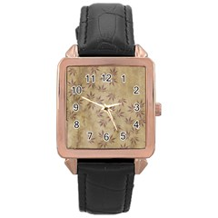 Parchment Paper Old Leaves Leaf Rose Gold Leather Watch